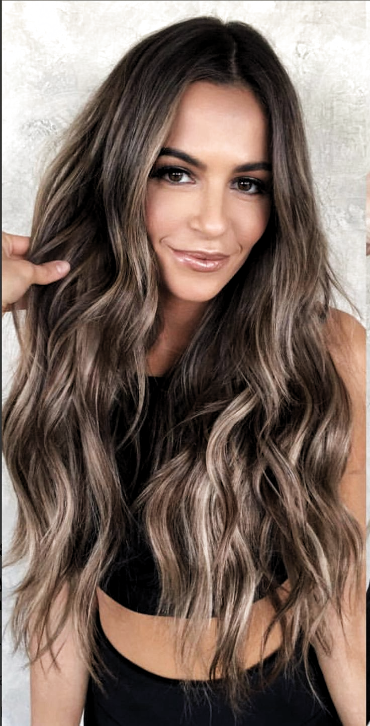 Brunette with blond highlights. I love the rich brown, perfect color ...