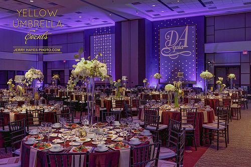 Texas State Illumni Gala 2016 | Custom Monogram Projection, Purple Uplighting, Floral Pinspotting | Photo by Jerry Hayes Photography | by IntelligentLightingDesign