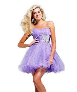 Cute short lilac formal prom puffy and poofy homecoming prom ...