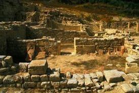 Site du temple d'Eleutherna. Eleutherne (Archea Eleftherna), cité fondée par les Doriens en -900 avant J.C. Crète, Grèce