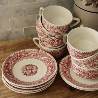 red transferware (mix and match plates)