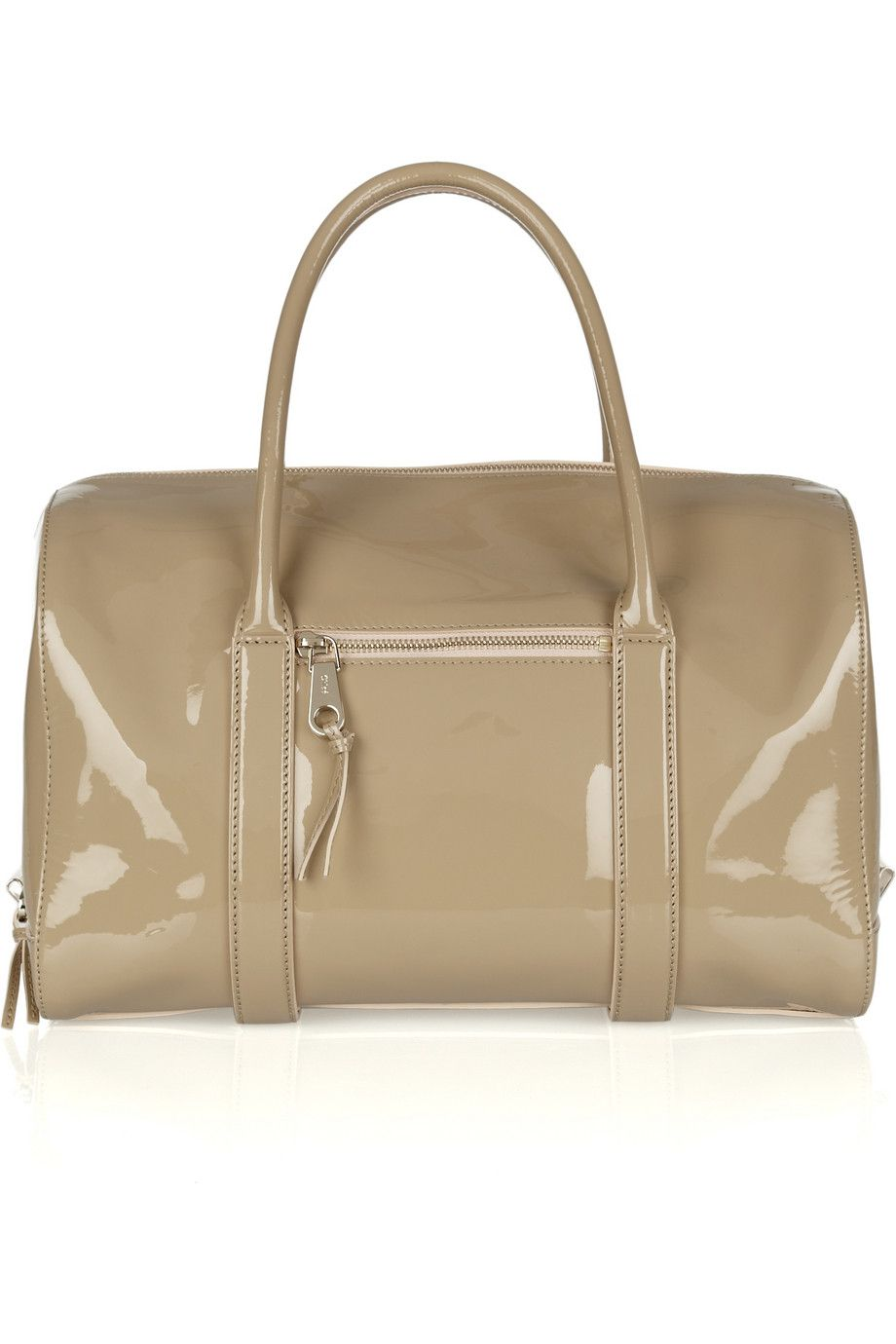 f0007ebef13f Chloe Madeleine patent-leather duffle bag in taupe