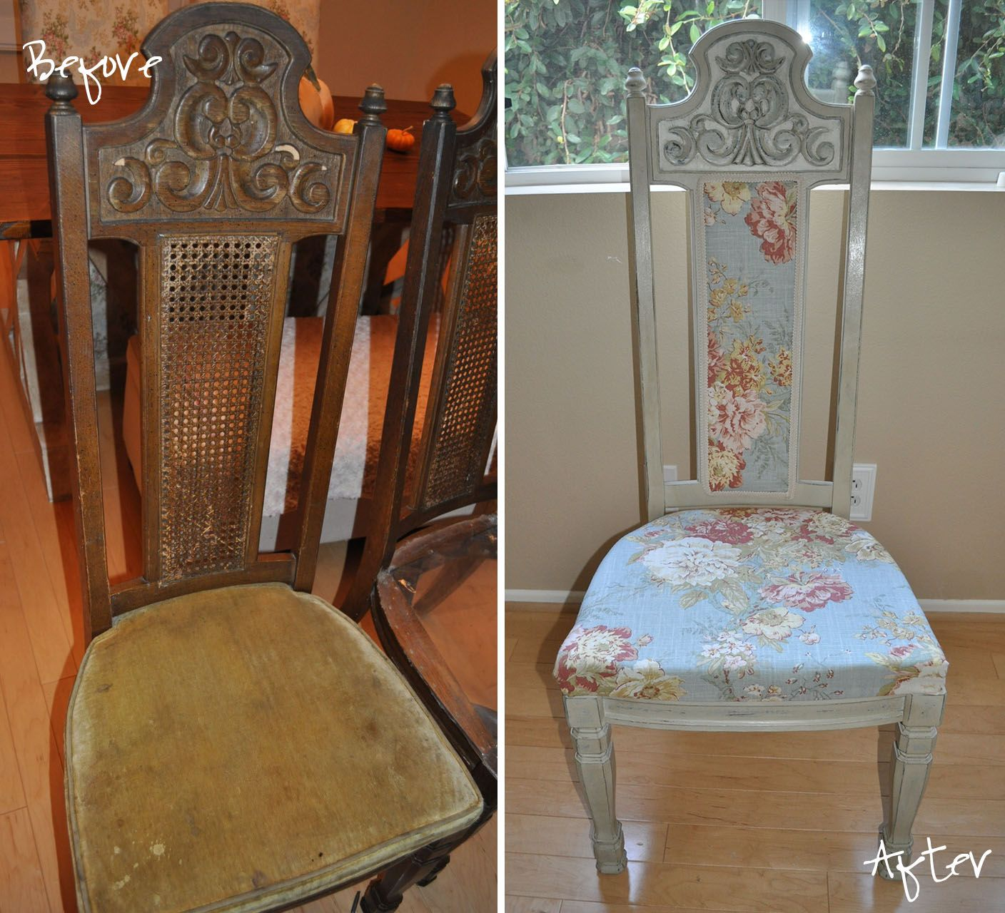 Diy  Dining Chair Redone Fabric On The Back  Diy  Pinterest Endearing Reupholster Dining Room Chairs Decorating Inspiration