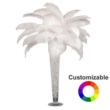 Ostrich Feather Centerpiece With 24 Trumpet Vase Ostrich Feather