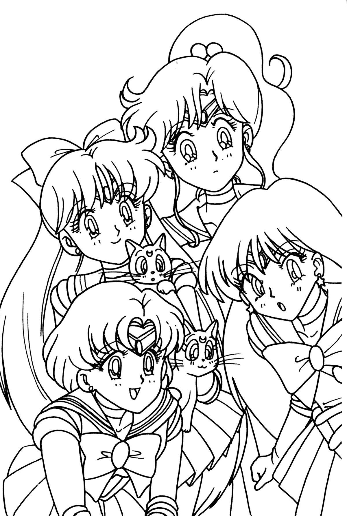 Sailor Venus Jupiter Mercure Luna Artemis Et Sailor Mars Sailor Moon Coloring Pages Moon Coloring Pages Coloring Pages