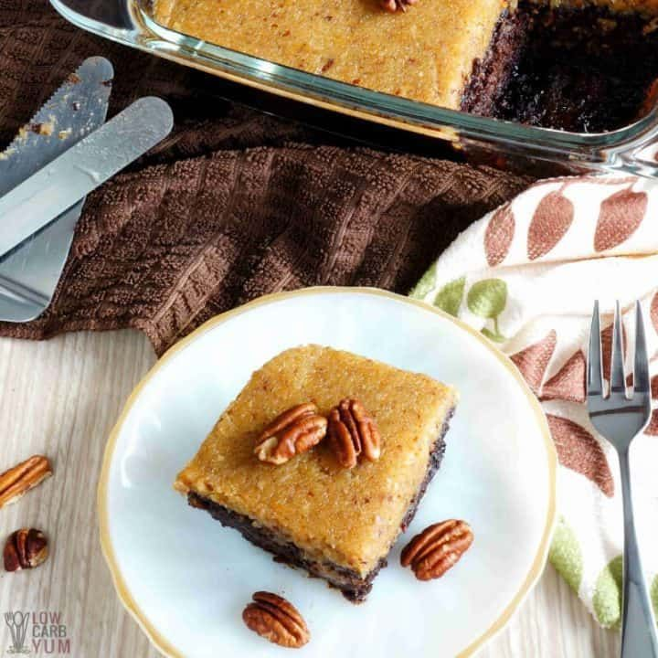 A delicious low carb gluten free german chocolate cake