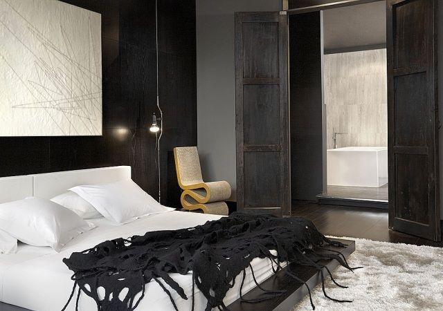 chambre adulte moderne en noir blanc et bois fonc