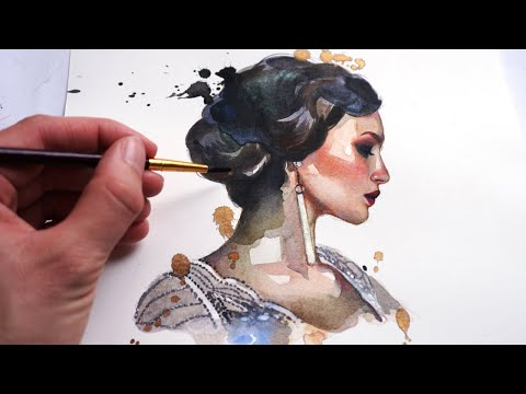 BEGINNER WATERCOLOR TUTORIAL: How To Paint A Portrait With Watercolors And Color Pencils! - YouTube