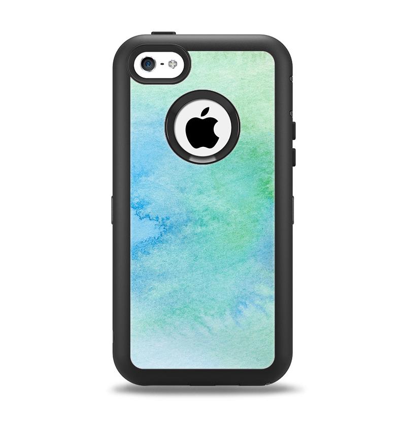 The Subtle Green & Blue Watercolor Apple iPhone 5c Otterbox Defender Case Skin Set