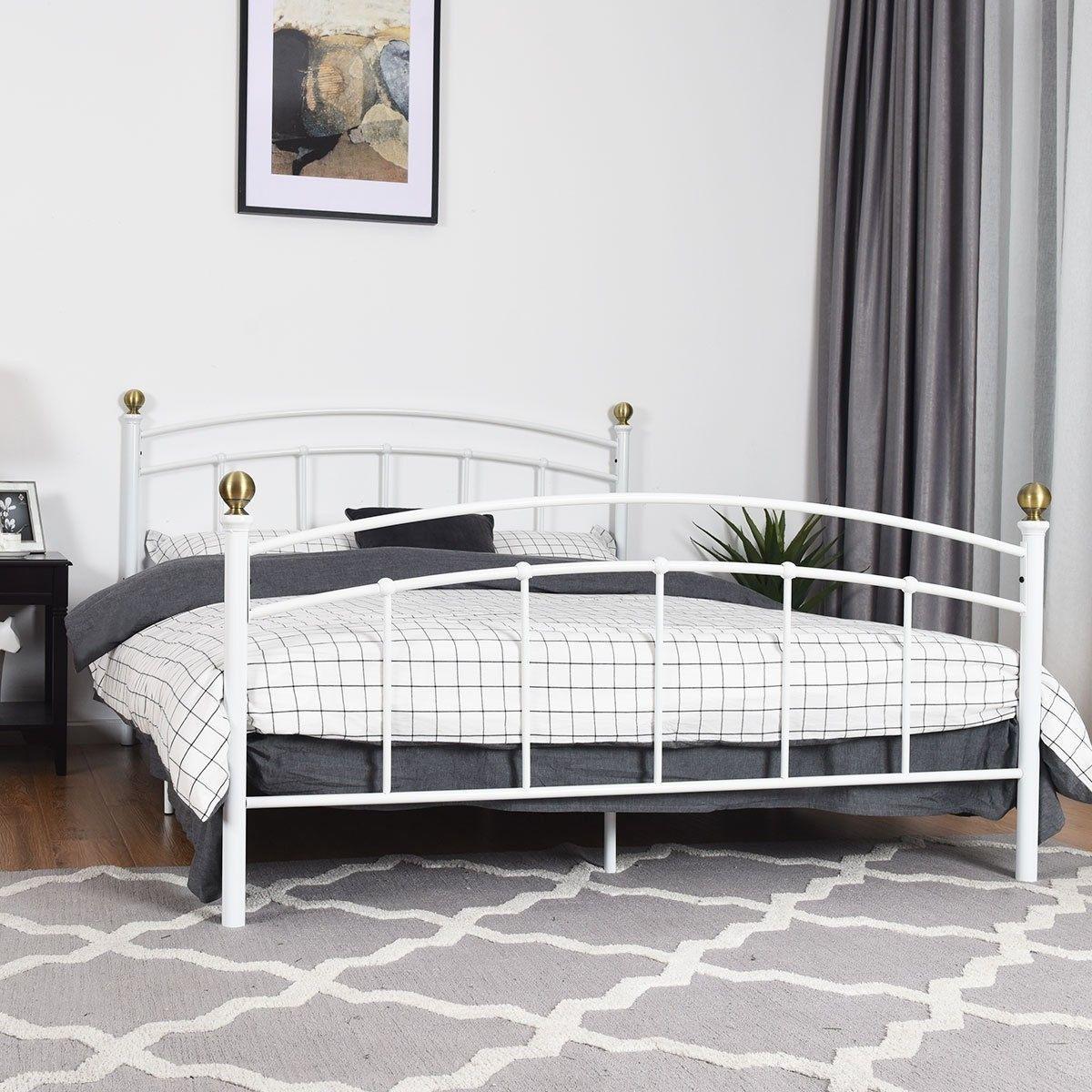 "12"" Full Size Metal Bed Frame Platform Metal Slat Full"