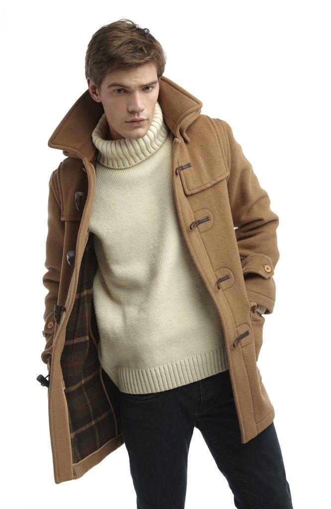 Men's Camel Duffle Coat, Beige Turtleneck, Black Jeans | Duffle ...