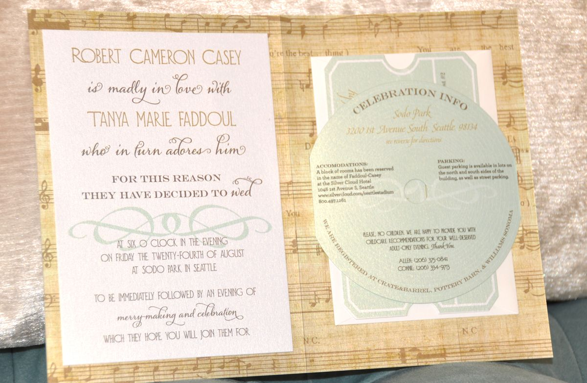 vintage music theme wedding invitation, designed by Nina Miller of ...