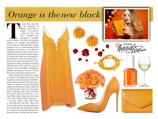"""orange is the new black//FEELING LIKE A PUMPKIN"" by perfectlydeathly ❤ liked on Polyvore featuring Lodis, Christian Louboutin, Designers Guild, EDIE MAC, Nordstrom, Essie, The French Bee and Henri Bendel"