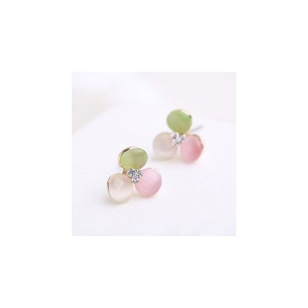 Cats Eye Stone Flower Earrings (£2.39) ❤ liked on Polyvore featuring jewelry, earrings, accessories, blossom jewelry, cats eye earrings, cats eye jewelry, flower earrings and flower jewelry