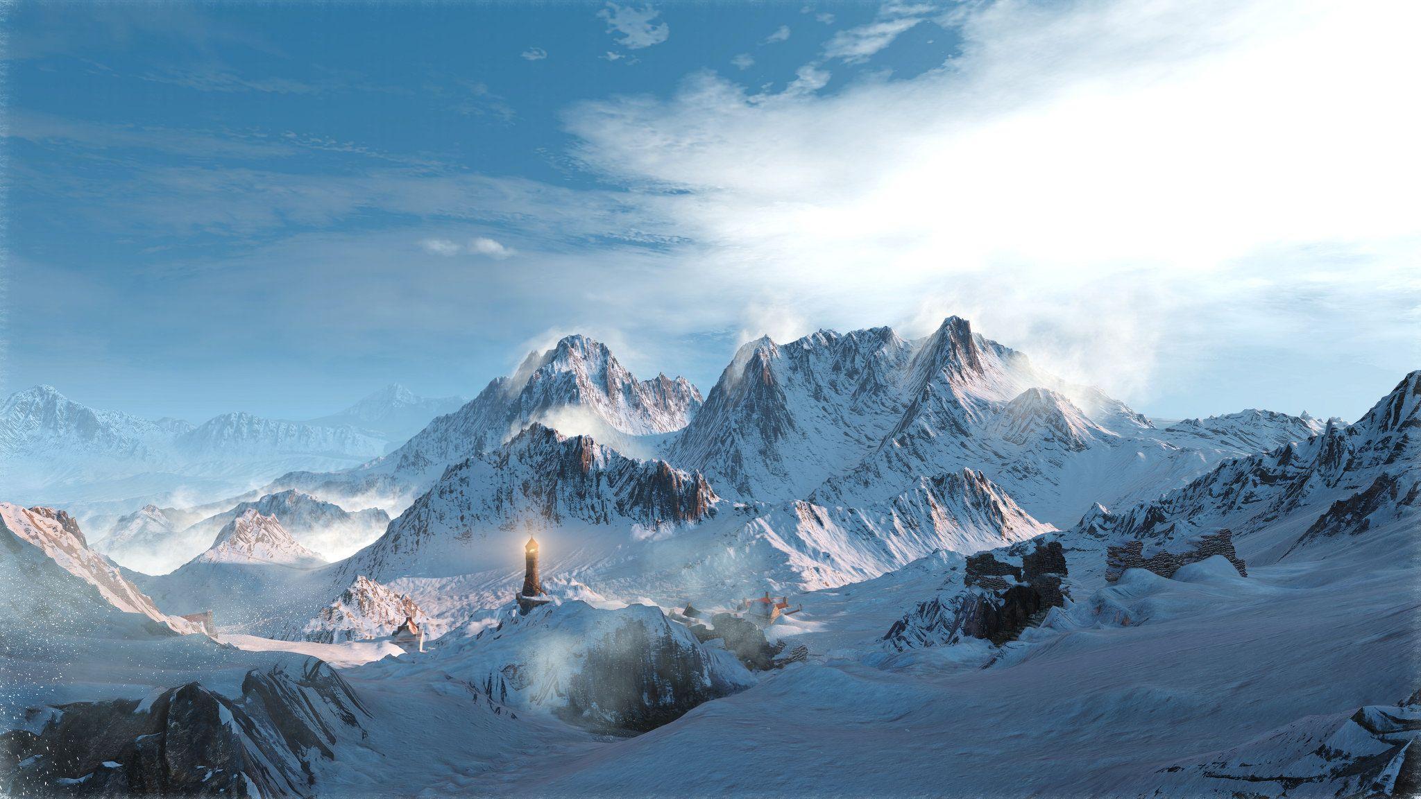 гора на фоне неба ведьмак