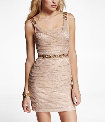 Express gold ruched dress