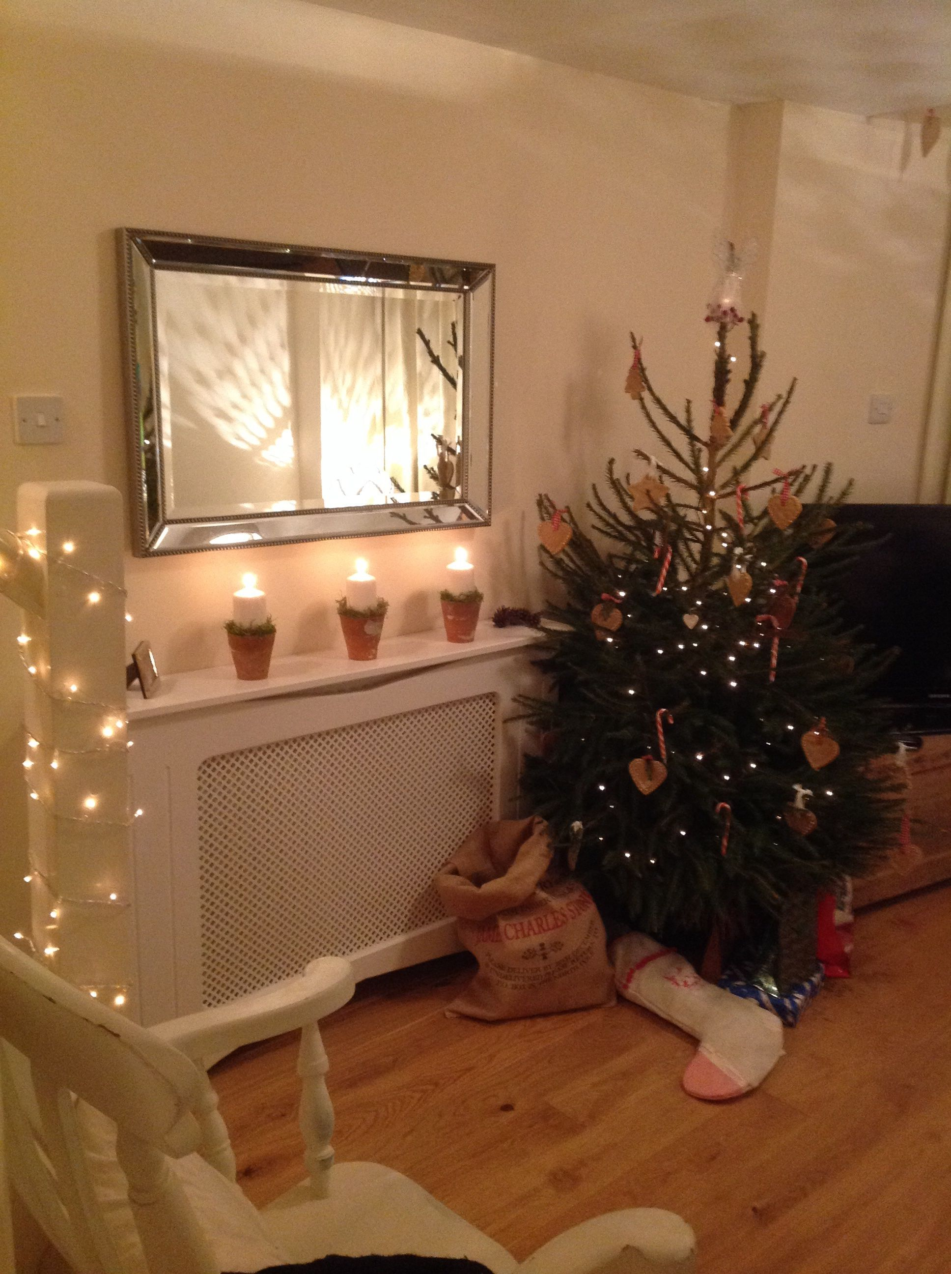 My Lounge At Christmas, White Handmade Radiator Cover