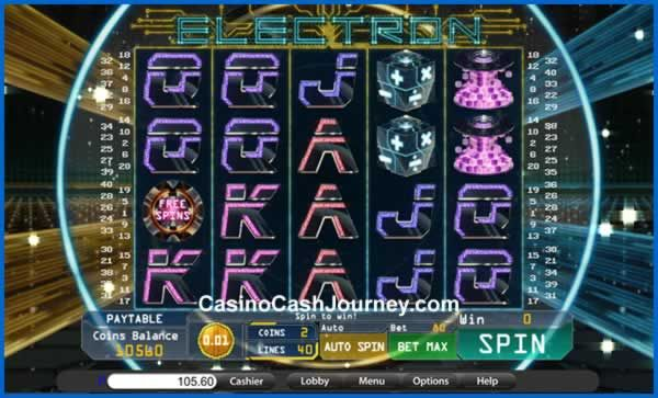 Launched in April 2016, Electron is a 40-line and 5-reel video slot from Saucify. Its symbols can pay in both directions and appear stacked throughout gameplay. Among them you'll also find Stacked Wilds that double all wins, and Scatters, which trigger Electron's Free Spins with an additional x2 multiplier. more this way...   http://www.casinocashjourney.com/blog/electron-slots-by-saucify/