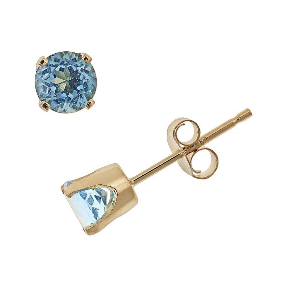 f324126c5 14k Gold Blue Topaz Stud Earrings - Kids | Products | Stud earrings ...