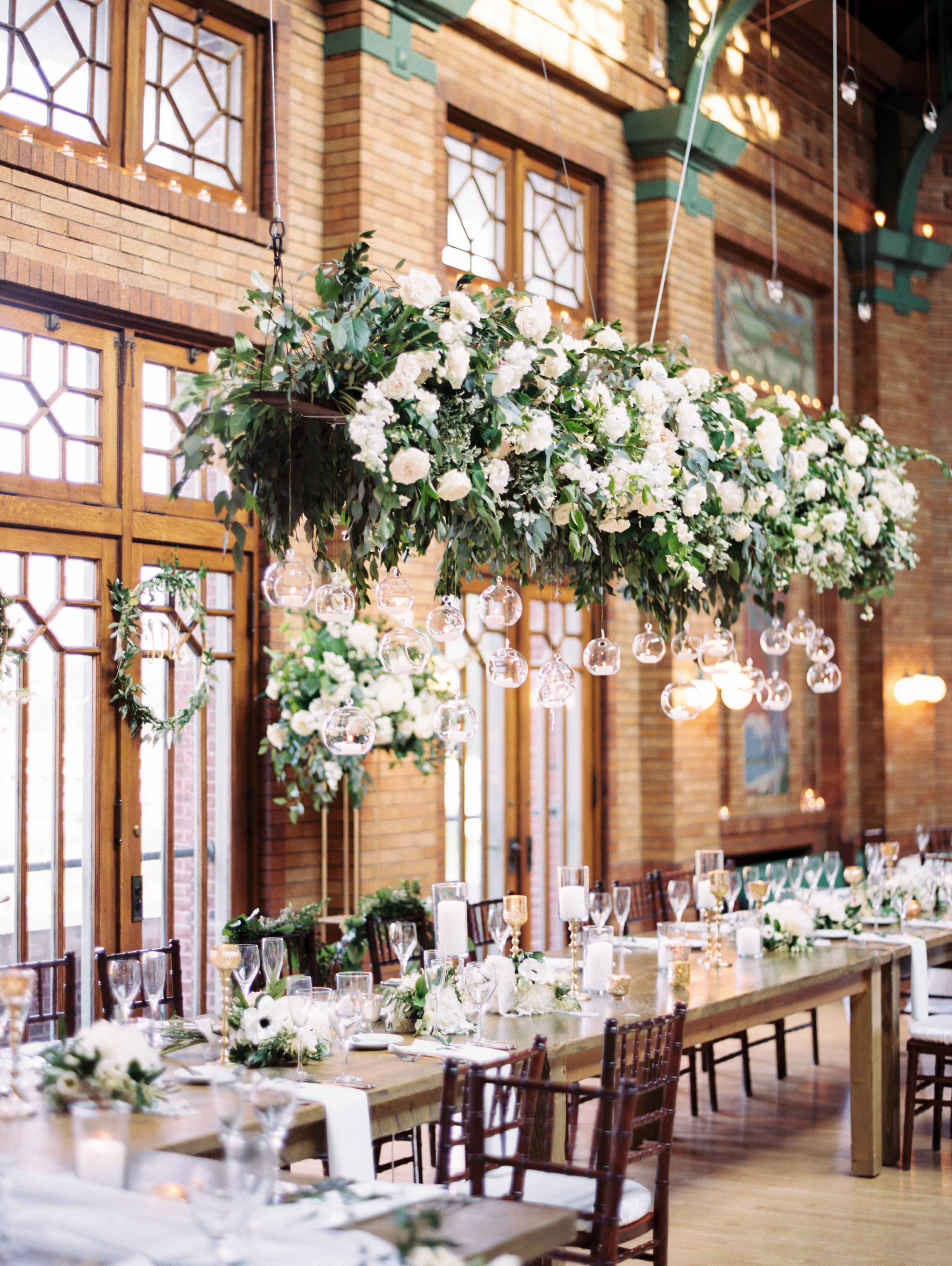 A Timeless Chicago Wedding In Lincoln Park Flower Chandelier Wedding Flower Chandelier Chandelier Wedding Decor