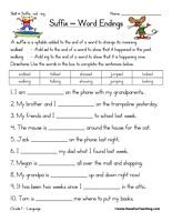 68 FREE ESL Suffixes (e.g. S, ED, ING, N\\'T) worksheets