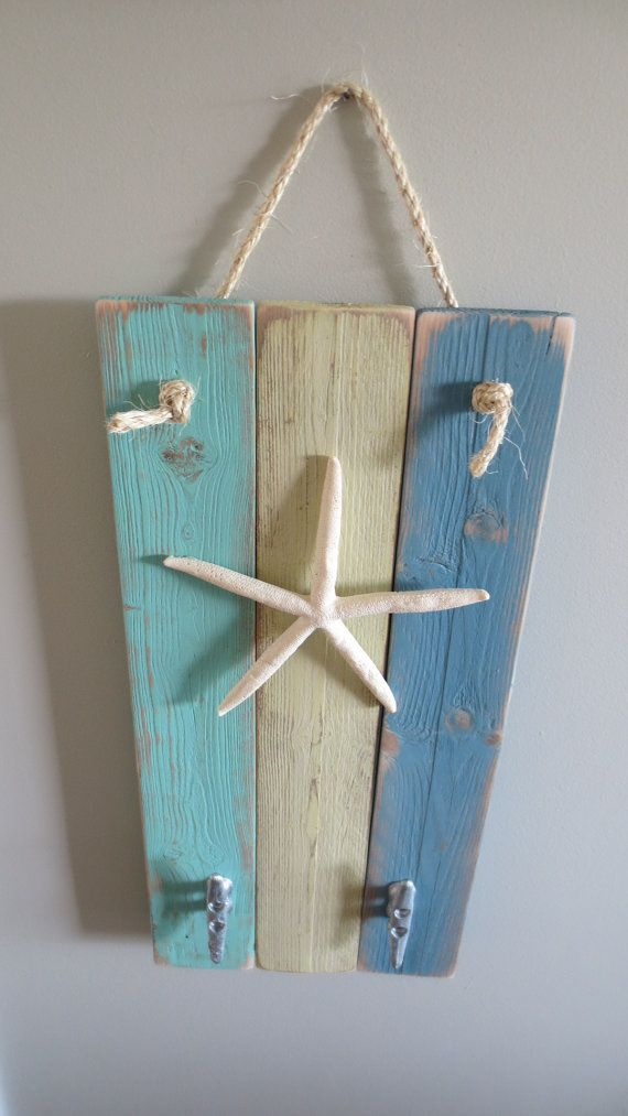 Starfish Wall Hanging Coat Hooks dusty blue by StarfishEnterprises, $50.00