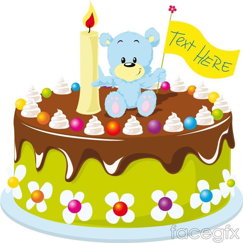 Cartoon bear birthday cake vector
