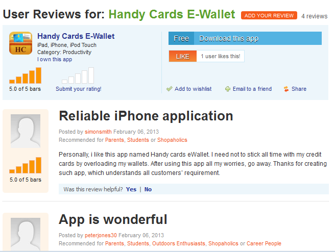 User reviews for iPhone Wallet app that lets you store