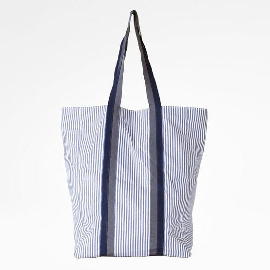 Borsa Diotima shopping bag in cotone e gros colore: bianco/blu
