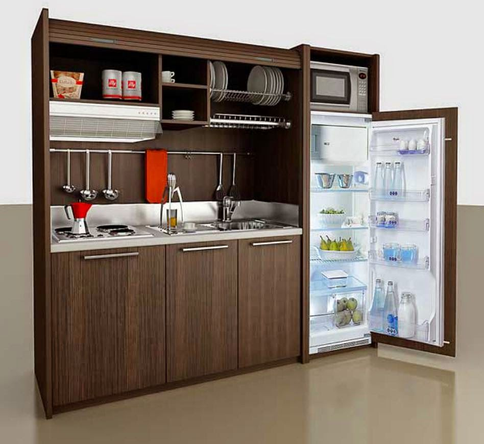 Mini kitchen fits studio or in-law unit / In tiny spaces, furniture ...