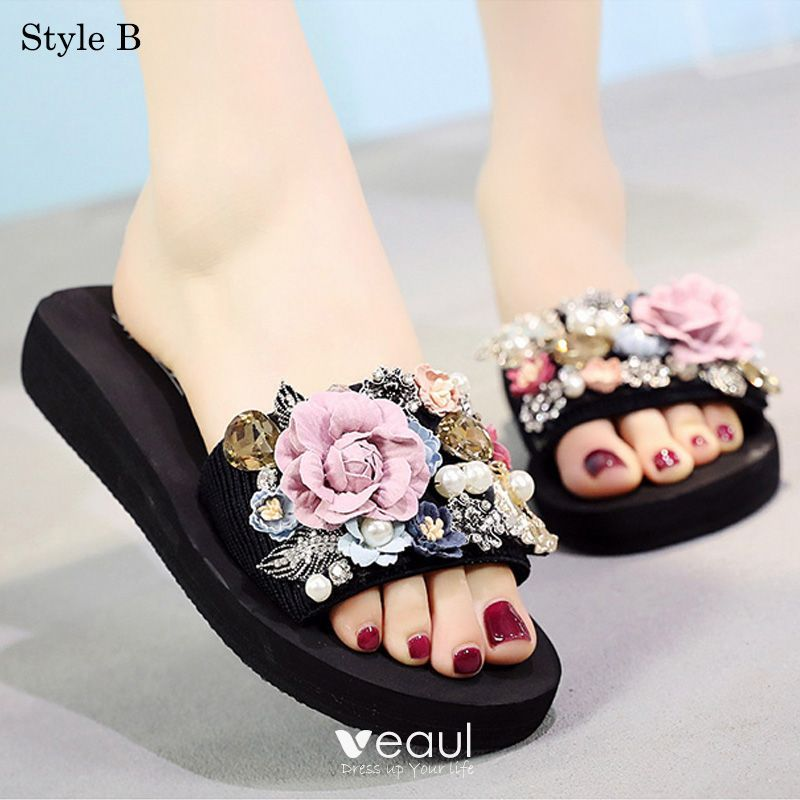 Modern Fashion Black Summer Casual Slipper Flip Flops 2018 Appliques Crystal Pearl 5 Cm Platform Casual Slippers Casual Summer Slippers Casual Shoes Women