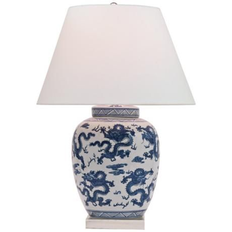 Dragon Navy And White Porcelain Table Lamp 6m437 Lamps Plus Lamp Table Lamp White Table Lamp