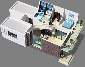 Planos 3d casa 3 dormitorios vivienda moderna planos de for Habitaciones 3d gratis