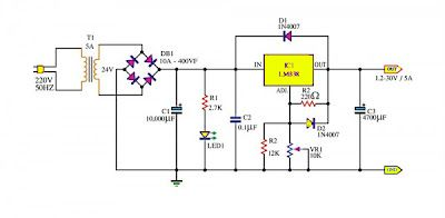 Adjustable Power Supply 1 2 30v 5a Using Lm338 Electronic