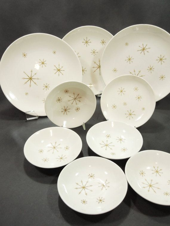 Star Glow Dishes - Royal Ironstone & Star Glow Dishes - Royal Ironstone - Gold star dinnerware mid ...