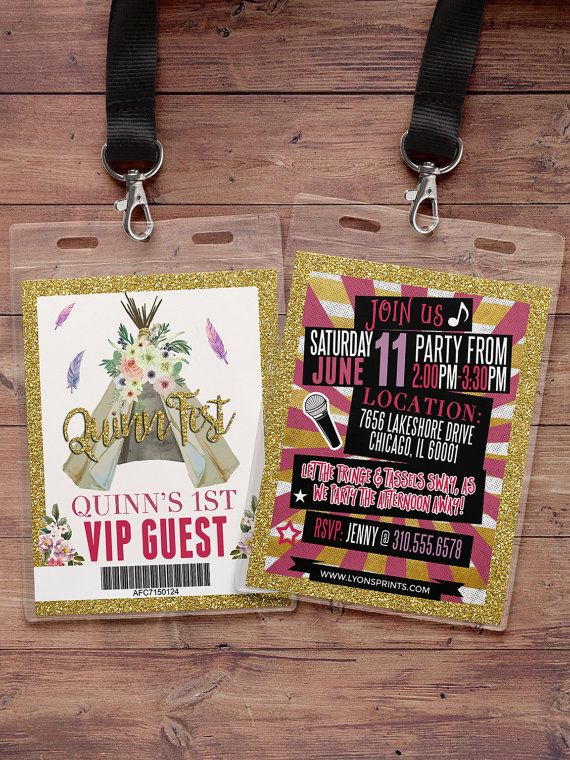 VIP pass, Teepee Birthday Invitation, ticket invitation, pow wow ...