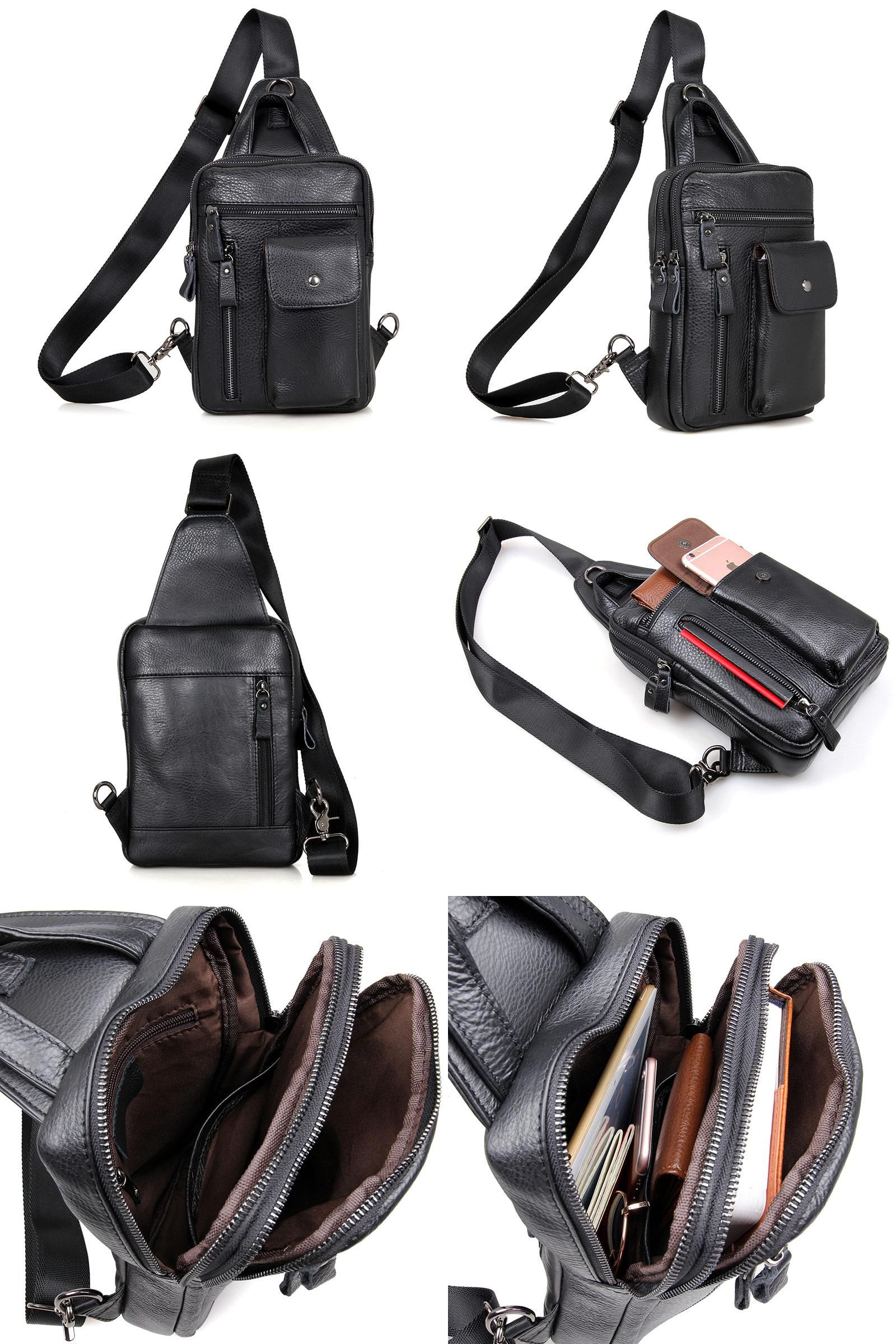 Men's Bags Crossbody Bags High Quality Men Genuine Leather 100% Real Cowhide Retro Messenger Shoulder Crossbody Bag Vintage Sling Chest Day Pack Half Moon Cheap Sales