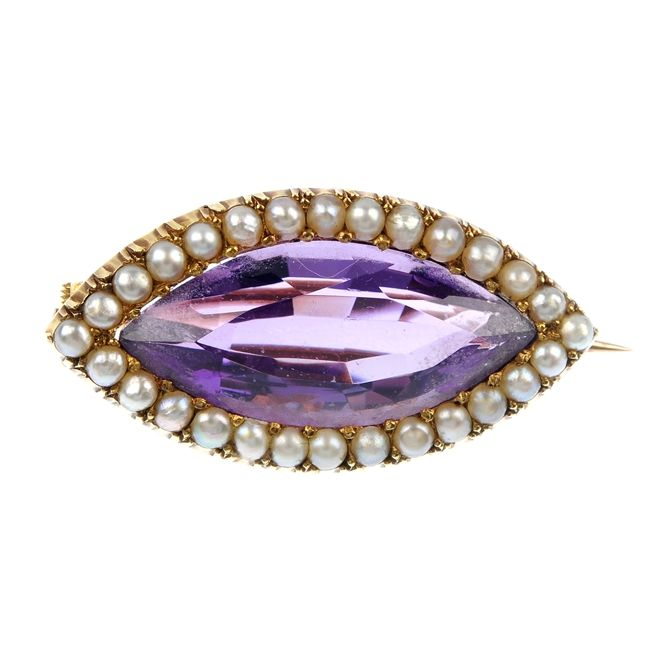 brooch - early 20th century 15ct gold amethyst and seed pearl