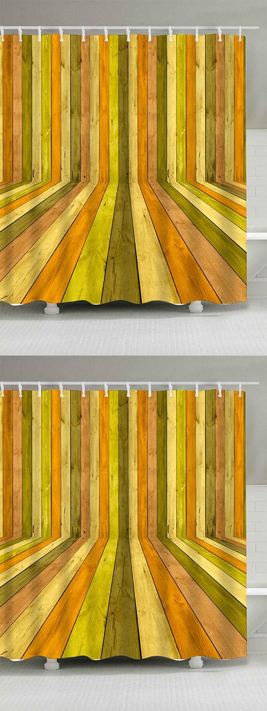 3d wood floor door waterproof extra long shower curtain