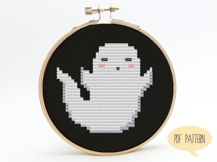 Cute Little Ghost - Halloween Cross Stitch - Kawaii Cross Stitch ...