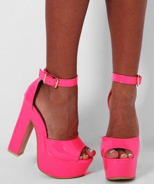 Platform heels chunky, Pink suede