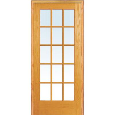 Mmi Door 30 In X 80 In Right Hand Unfinished Pine Glass 15 Lite Clear True Divided Single Prehung Interior Door Z019956r The Home Depot French Doors Interior Prehung Interior Doors Glass French Doors