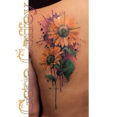 Sunflower Watercolor Tattoo Pesquisa Google Flower Tattoos
