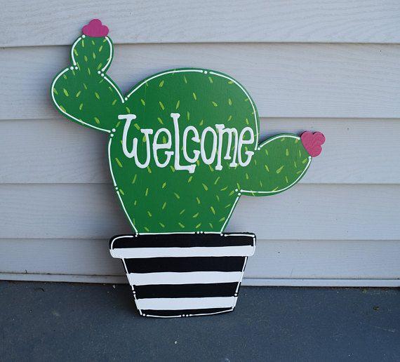 cactus door hanger; summer door hanger; wooden cactus; cactus wreath; cactus decor; door hanger; cactus wood sign; black and white door