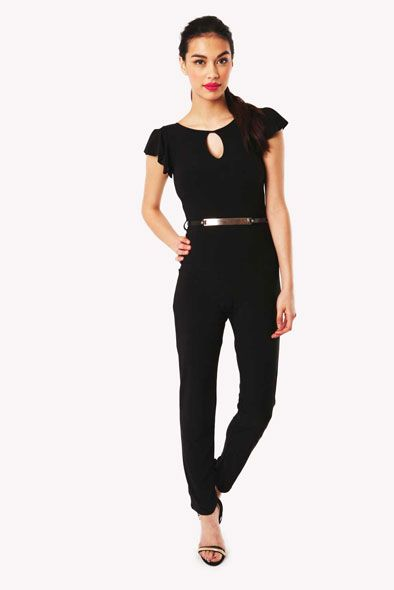 Angla Frill Sleeve Jumpsuit with Gold Waist Belt in Black