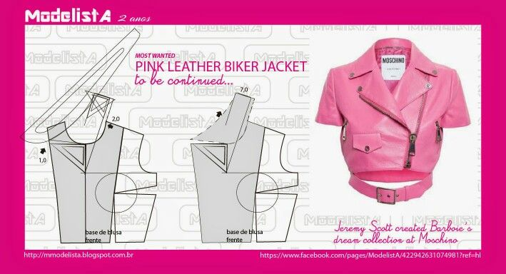 Modelista A Pink Leather Biker Jacket Sewing Pattern Fashion