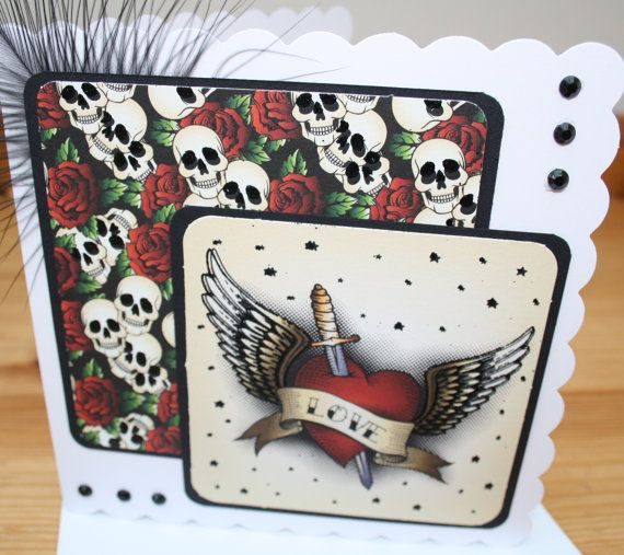 Skull roses and heart valentines card for him by sweetygreetings, £1.50