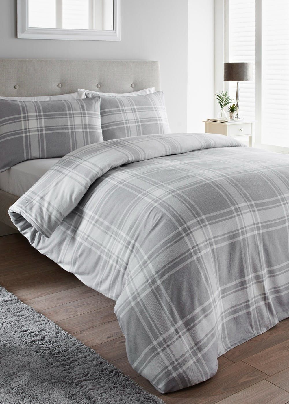 100 Brushed Cotton Check Duvet Cover Gray Duvet Cover Duvet