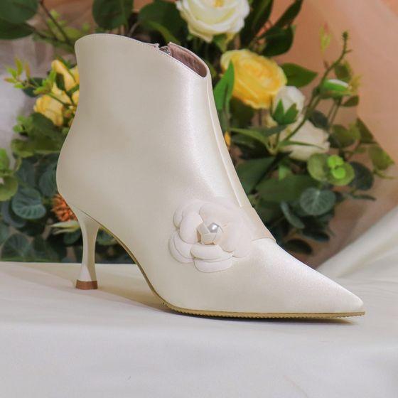 Eleganckie Zima Kosc Sloniowa Botki Buty Damskie 2020 Skorzany 7 Cm Szpilki Szpiczaste Slub Boots Stiletto Heels Womens Boots Wedding Boots