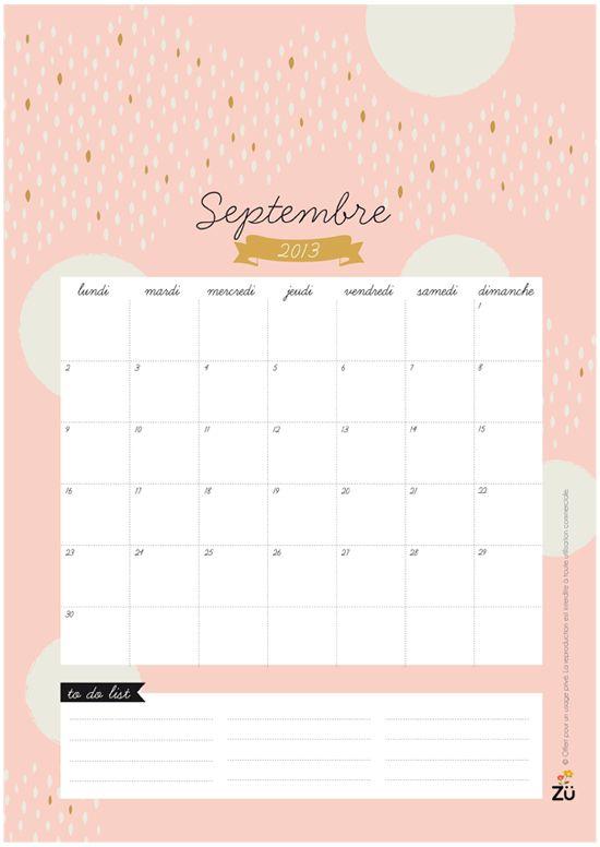 Diy Calendar Background : Calendrier diy septembre free printable hello